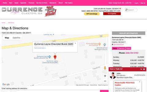 Screenshot of Maps & Directions Page durrencelayne.com - Map & Directions | Durrence Layne Chevrolet Buick GMC - captured Oct. 23, 2018