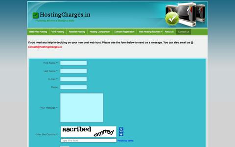 Screenshot of Contact Page hostingcharges.in - Contact us - Hosting Charges - captured Sept. 19, 2014