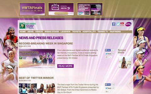 Screenshot of Press Page wtafinals.com - News | WTA Finals - captured Oct. 30, 2014