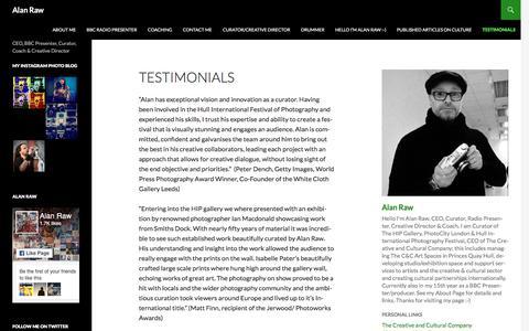 Screenshot of Testimonials Page wordpress.com - Testimonials | Alan Raw - captured Oct. 7, 2017