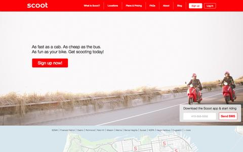 Screenshot of Home Page scootnetworks.com - Scoot Networks - Electric scooter rentals for $2 one-way anywhere. - captured July 15, 2015