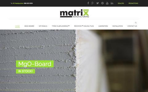 Screenshot of Home Page matrixmfgusa.com - Matrix Manufacturing USA - Basement Finishing Materials - captured Oct. 6, 2014