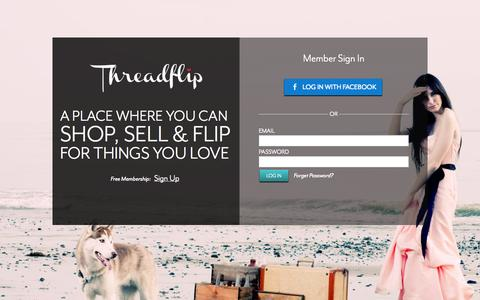 Screenshot of Login Page threadflip.com - Threadflip - One of a kind Designer Bags, Indie Dresses, Vintage Jewelry and More! - captured Sept. 17, 2014