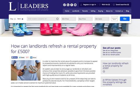 Screenshot of Blog leaders.co.uk - How can landlords refresh a rental property for £500? - Leaders Estate Agents - captured Oct. 31, 2014