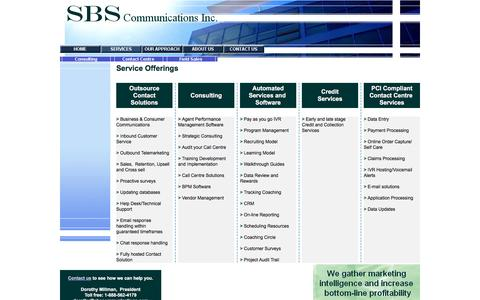 Screenshot of Services Page sbscommunications.com - Contact Centre - SBS Communications Inc. - Services - captured Dec. 18, 2015