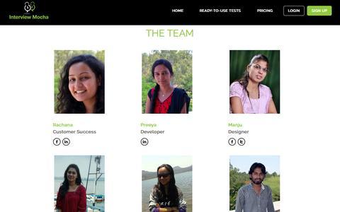 Screenshot of Team Page interviewmocha.com - Online assessment software for IT, technical recruitment - captured Sept. 30, 2014