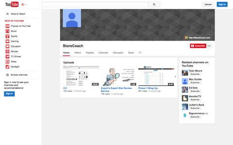 Screenshot of YouTube Page youtube.com - StoreCoach  - YouTube - captured Oct. 25, 2014