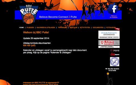 Screenshot of Home Page bbcputte.be - Welkom bij BBC Putte - captured Oct. 4, 2014