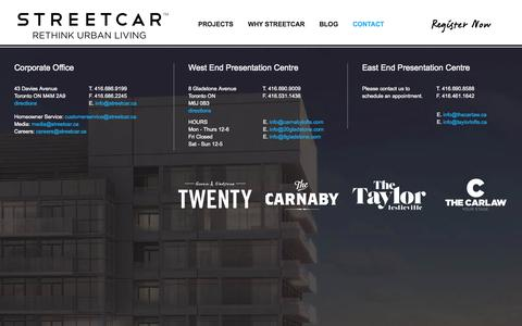 Screenshot of Contact Page streetcar.ca - Contact Us for Lofts and Condos in Toronto | Streetcar - captured Oct. 3, 2014