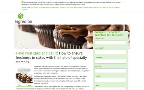 Screenshot of Landing Page ingredion.com - How to ensure freshness in cakes with the help of specialty starches - captured Aug. 14, 2016