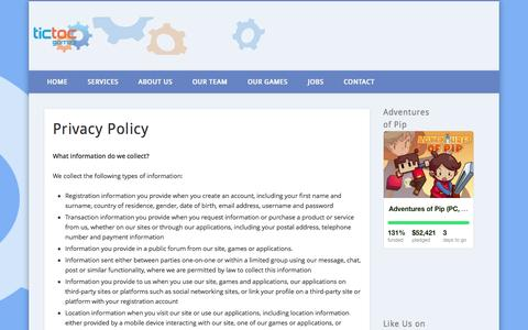 Screenshot of Privacy Page tictocgames.com - Privacy Policy - captured Sept. 30, 2014