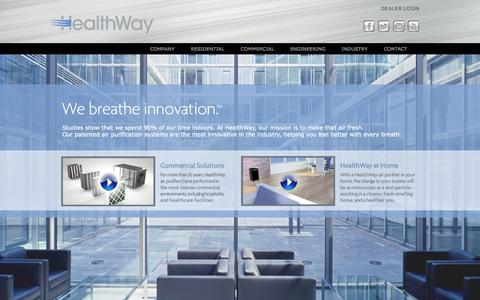 Screenshot of Home Page healthway.com - Air Purifiers | Home Air Purifiers | Air Cleaners | Commercial Air Cleaners | HealthWay - captured Jan. 23, 2015