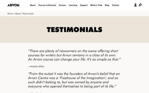 Screenshot of Testimonials Page arvon.org - Arvon | residential creative writing courses and retreats UK - captured Nov. 13, 2018