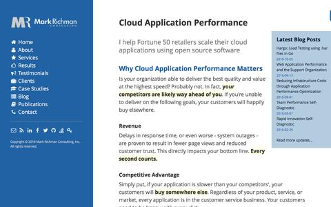 Screenshot of Home Page markrichman.com - Mark Richman - Cloud Application Performance - captured Nov. 6, 2016
