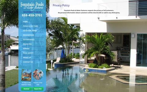 Screenshot of Privacy Page fountainpoolswf.com - Fountains Pools & Water Features | Punta Gorda Florida - captured Oct. 6, 2014