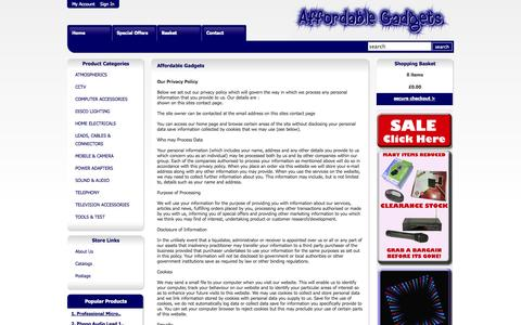 Screenshot of Privacy Page affordablegadgets.com - AffordableGadgets.com  - Your one stop shop for Home Gadget Solutions! - captured Oct. 26, 2014