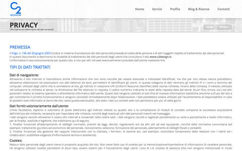 Screenshot of Privacy Page c2design.it - C2 Design, Web Agency di Trieste, privacy statement - captured Sept. 24, 2014
