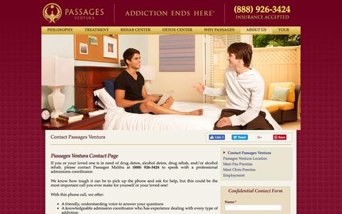 Screenshot of Contact Page passagesventura.com - Contact Passages - Contact Passages Ventura Addiction Rehab Center - captured July 16, 2018