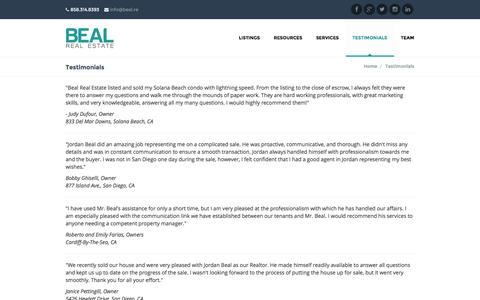 Screenshot of Testimonials Page bealre.com - Testimonials | Beal Real Estate - captured Oct. 5, 2014