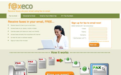 Screenshot of Home Page faxeco.co.za - Fax To Email, Free Fax to Email Number Service South Africa - captured Nov. 25, 2016