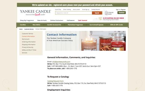Screenshot of Hours Page yankeecandle.com - Contact Information | Yankee Candle - captured Sept. 19, 2014