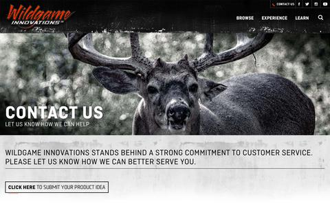 Screenshot of Contact Page wildgameinnovations.com - Contact Us | Wildgame Innovations | Email and Phone Contact Form - captured Oct. 18, 2018