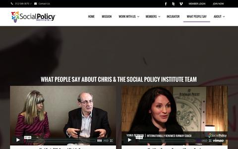 Screenshot of Testimonials Page socialpolicyinstitute.org - SOCIAL IMPACT STRATEGY | TESTIMONIALS | Social Policy Institute - captured Sept. 30, 2014