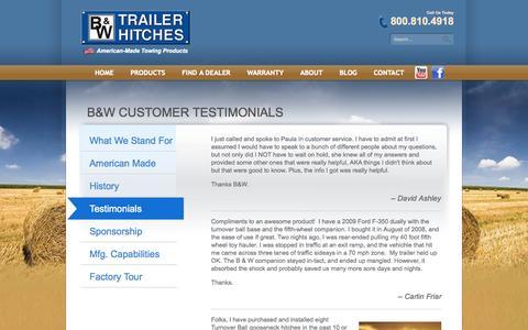 Screenshot of Testimonials Page turnoverball.com - B&W Customer Testimonials | B & W Trailer Hitches - captured Nov. 1, 2014