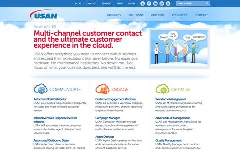 Screenshot of Products Page usan.com - Multichannel Contact Center and Customer Engagement Products | USAN - captured Sept. 30, 2014