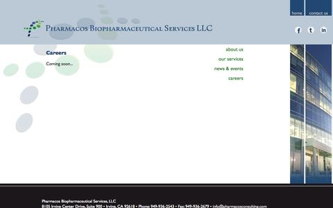 Screenshot of Jobs Page pharmacosconsulting.com - Careers | Pharmacos Biopharmaceutical Services - captured Oct. 2, 2014