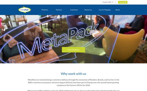 Screenshot of Jobs Page metapack.com - Recruitment | Metapack Delivery Management Software - captured Jan. 22, 2019