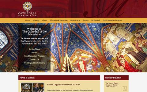 Screenshot of Home Page utcotm.org - The Cathedral of the Madeleine - Salt Lake City, Utah - Home - captured Oct. 9, 2015