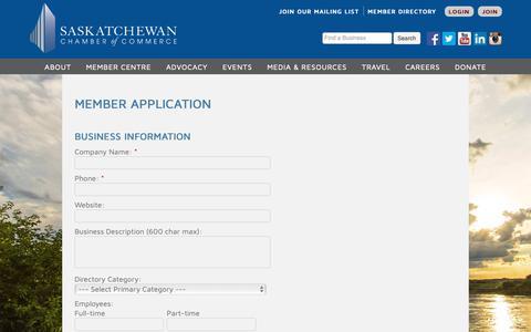 Screenshot of Signup Page saskchamber.com - Member - Saskatchewan Chamber of Commerce - captured Dec. 17, 2018