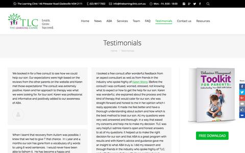 Screenshot of Testimonials Page thelearningclinic.com.au - Testimonials | The Learning Clinic - captured Dec. 17, 2016