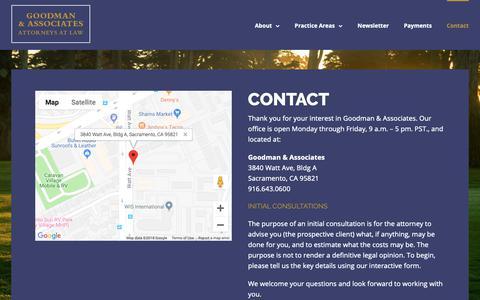 Screenshot of Contact Page goodman-law.com - Contact - Goodman & Associates - captured Sept. 29, 2018