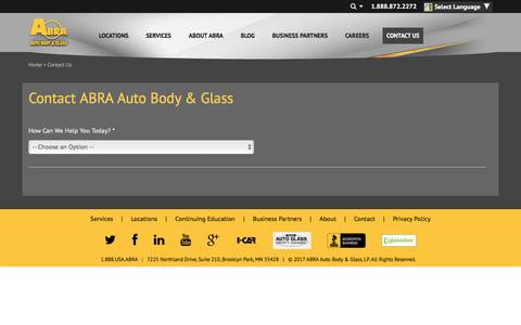 Screenshot of Contact Page abraauto.com - ABRA Online Contact Us Form | Auto Body, Glass, Paintless Dent Repair - captured March 8, 2017