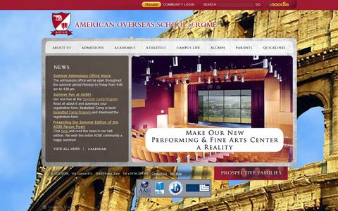 Screenshot of Home Page aosr.org - American Overseas School of Rome - captured July 12, 2014