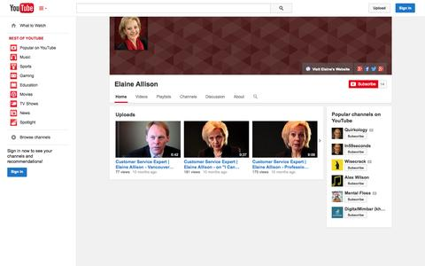 Screenshot of YouTube Page youtube.com - Elaine Allison  - YouTube - captured Oct. 23, 2014