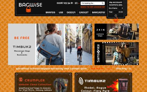 Screenshot of Home Page bagwise.com - Online Store for Leather and Cordura Backpacks - Messenger bags || Bagwise.Com - captured Dec. 28, 2015