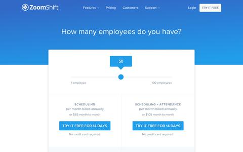 Screenshot of Pricing Page zoomshift.com - Pricing - ZoomShift - captured Jan. 17, 2018