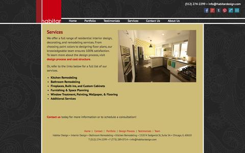 Screenshot of Services Page habitardesign.com - Interior Design Services | Habitar Design - captured Sept. 27, 2014