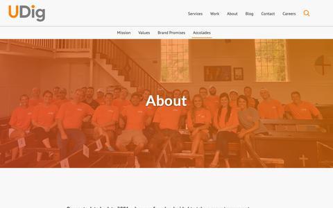 Screenshot of About Page udig.com - About UDig | Mission | Values | Brand Promises | Accolades - captured June 20, 2019