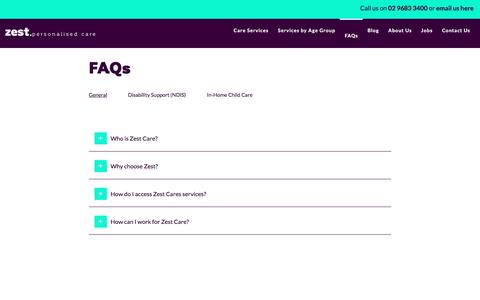 Screenshot of FAQ Page zestcare.net.au - Frequently Asked Questions | FAQs | Zest Care - captured Jan. 1, 2017
