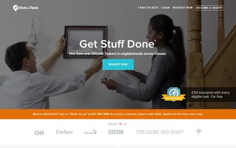 Screenshot of Home Page askfortask.com - Hire House Cleaning, Moving, Handyman Services Across Canada. - captured Jan. 14, 2016