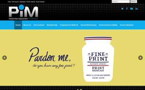Screenshot of Home Page pimw.org - Home - Printing Industry Midwest - captured Dec. 24, 2017