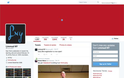 Screenshot of Twitter Page twitter.com - Limmud NY (@LimmudNY)   Twitter - captured Oct. 28, 2014
