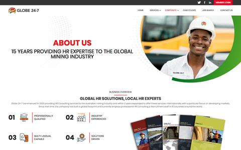 Screenshot of About Page globe24-7.com - About Us | Globe 24-7 - captured July 21, 2018