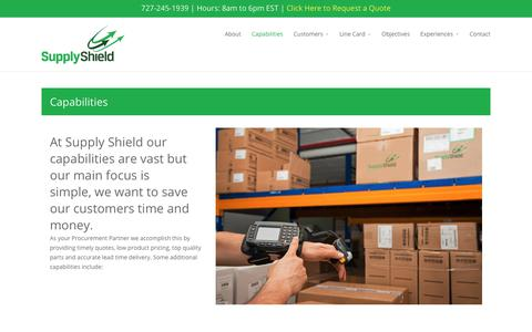 Screenshot of Services Page supplyshield.com - Capabilities - Supply Shield Electronic Components Distributor - captured June 19, 2017