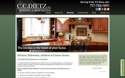 Screenshot of Services Page ccdietz.com - York Pennsylvania Custom Home & Remodeling Services - captured Jan. 23, 2016