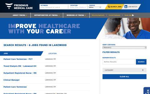Screenshot of Jobs Page fmcna.com - Search Lakewood Jobs at FRESENIUS - captured April 17, 2019